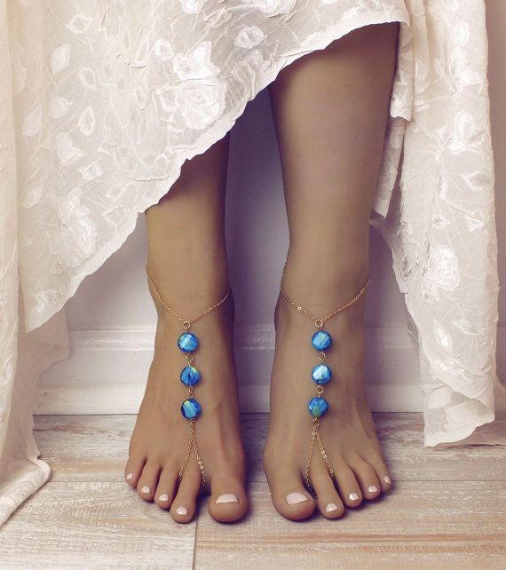 Chained Bohemian Barefoot Sandals Aqua Turquoise and Gold