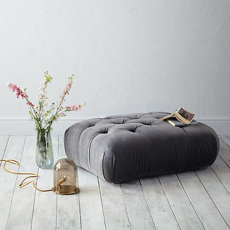 Buy Dollop Footstool by Loaf at John Lewis in Smoke Clever Velvet, Light Leg Online at johnlewis.com