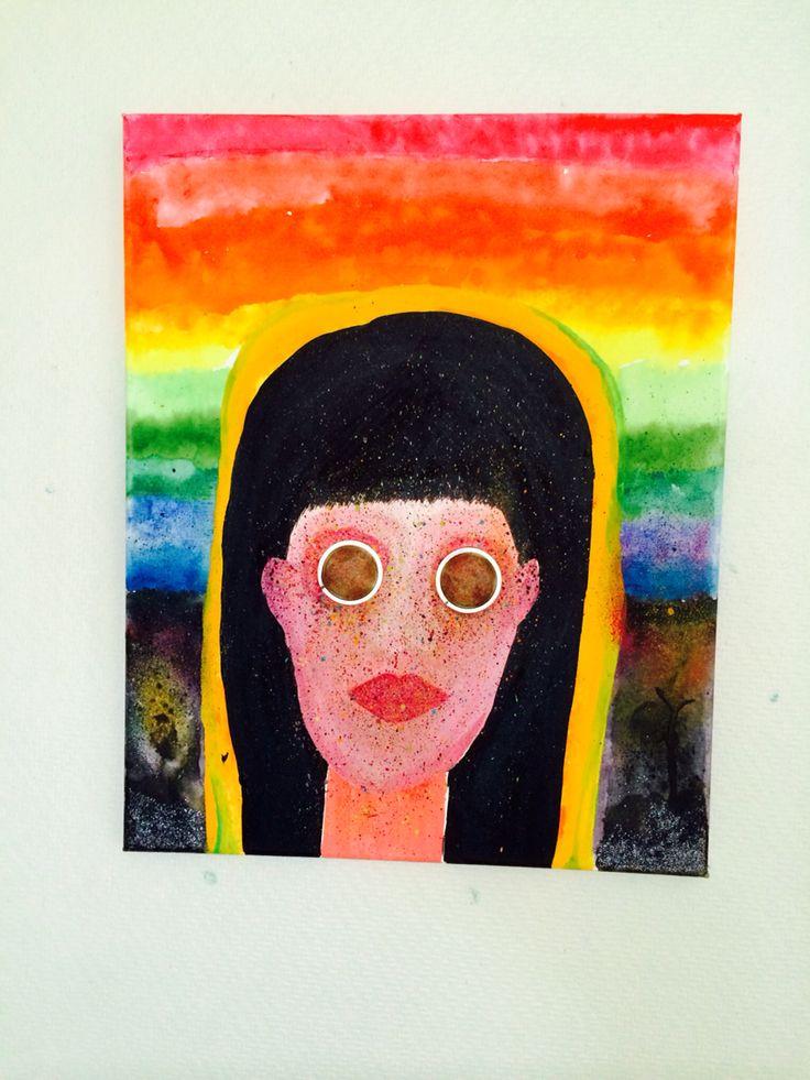 Rainbow girl canvas