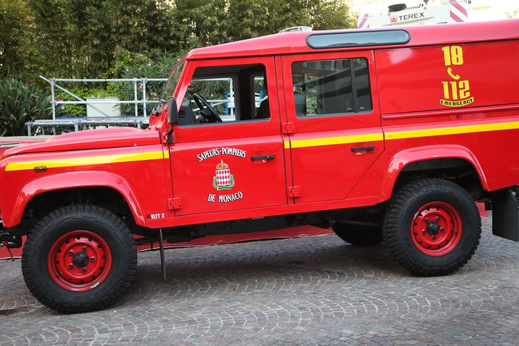 The Monaco fire service (Sapeurs-Pompiers de Monaco, pompiers.gouv.mc) had a new Defender 110 this year working around the course at the Monaco Grand Prix in May, as here on Wednesday before the race at Turn 1