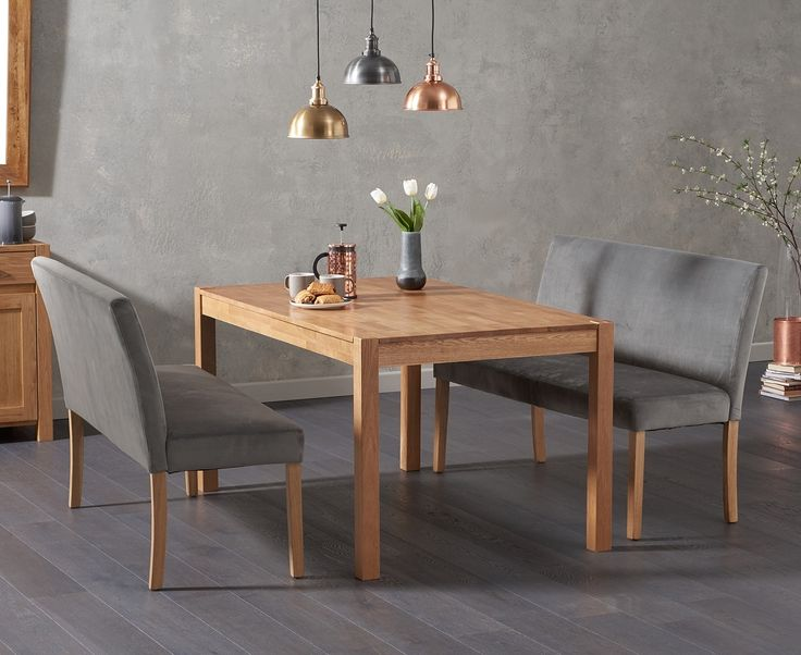 Oxford 150cm Solid Oak Dining Table With Mia Grey Plush Benches Backs