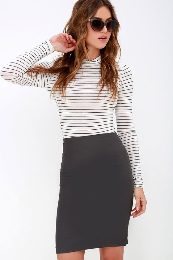 Get the Memo Charcoal Grey Pencil Skirt
