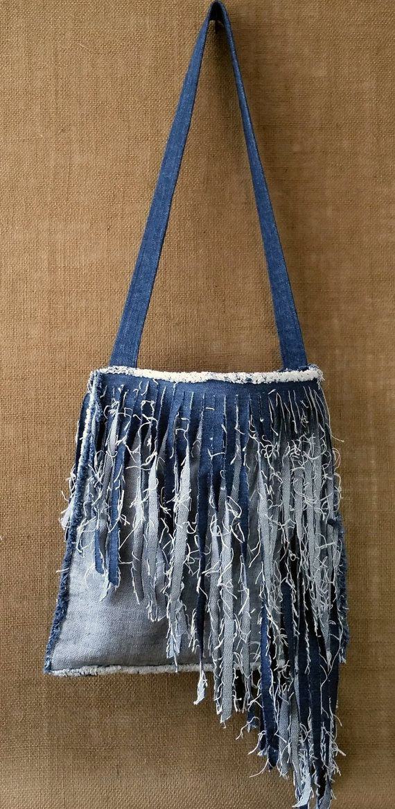 Denim Purse Handmade from Recycled Blue Jean Denim от MissThread