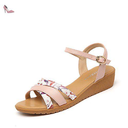 La mode des femmes d'été confortables sandales hauts talons rose,37 - Chaussures rugai ue (*Partner-Link)