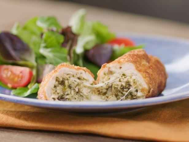 Get Crispy Artichoke Pesto-Stuffed Chicken Recipe from Food Network