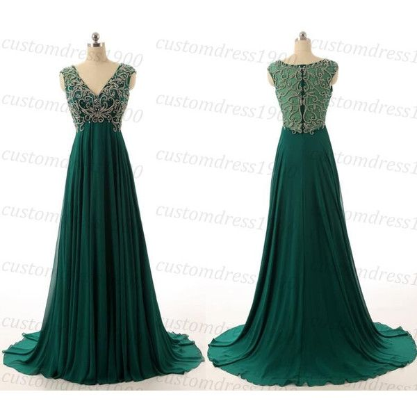 Sexy Green Beading/Crystal Chiffon Handmade Long Prom Dress V-Neck Cap... ($229) ❤ liked on Polyvore featuring dresses, sexy long dresses, formal dresses, white chiffon dress, beaded prom dresses and long prom dresses