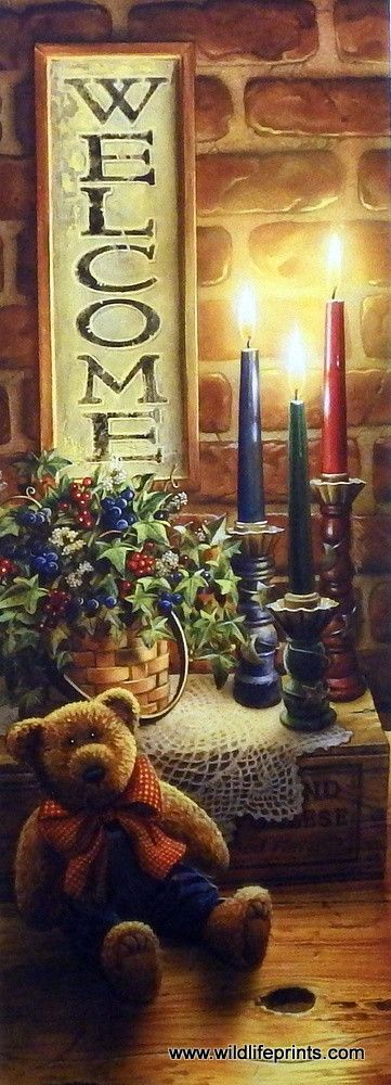 In Doug Knutson's Print A WARM WELCOME, a country setting with burning candles and the rustic welcome sign invites any visitor to feel right at home. Create a warm welcome feel for your own home by pu
