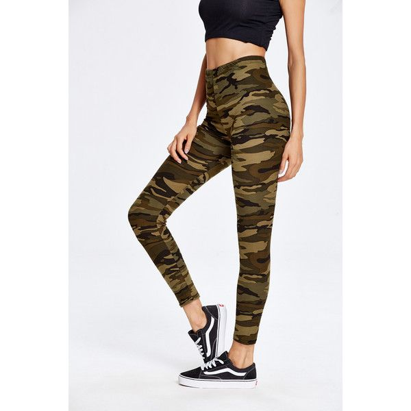 Camouflage Print Ankle Leggings ($8.99) ❤ liked on Polyvore featuring pants, leggings, green, camo leggings, camoflauge leggings, print leggings, camouflage pants and green leggings