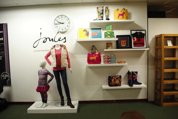// display // visual merchandising // fashion // joules // wellies // stationery