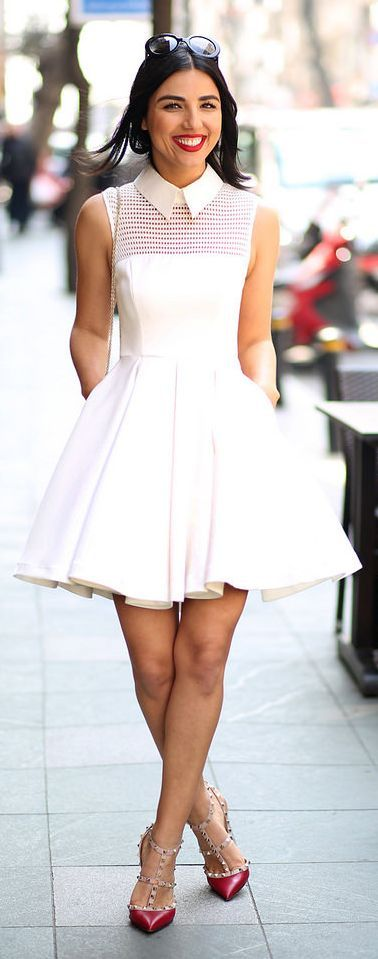 White Skater Dress Styling by Duygu Senyurek