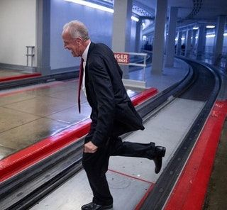 Senator Jerry Moran Running Away From Reporters