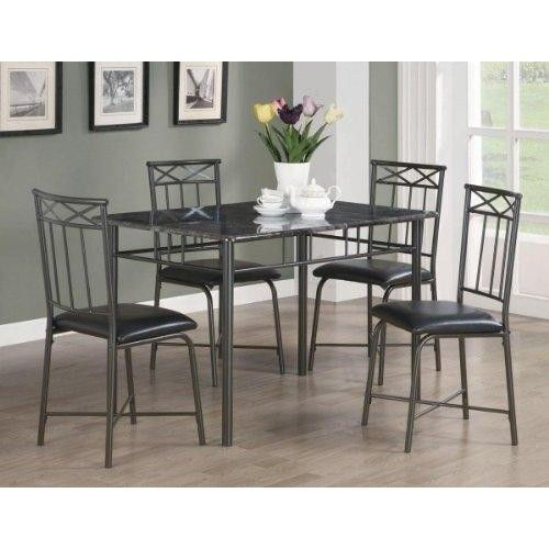 5pc Dining Table and Chairs Set with Faux Marble Top in Black Finish  Features : 5pc Dining Set with #FauxMarbleTop in Black Finish *Dining and Kitchen *Dining and Kitchen->#Dining Room Sets->Metal and Wood Dining *Some assembly may be required. Please see product details.  Color : Black