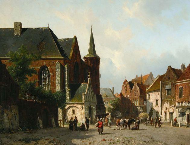 Summer Street Scene, Holland, Adrianus Eversen. Dutch (1818 - 1897)