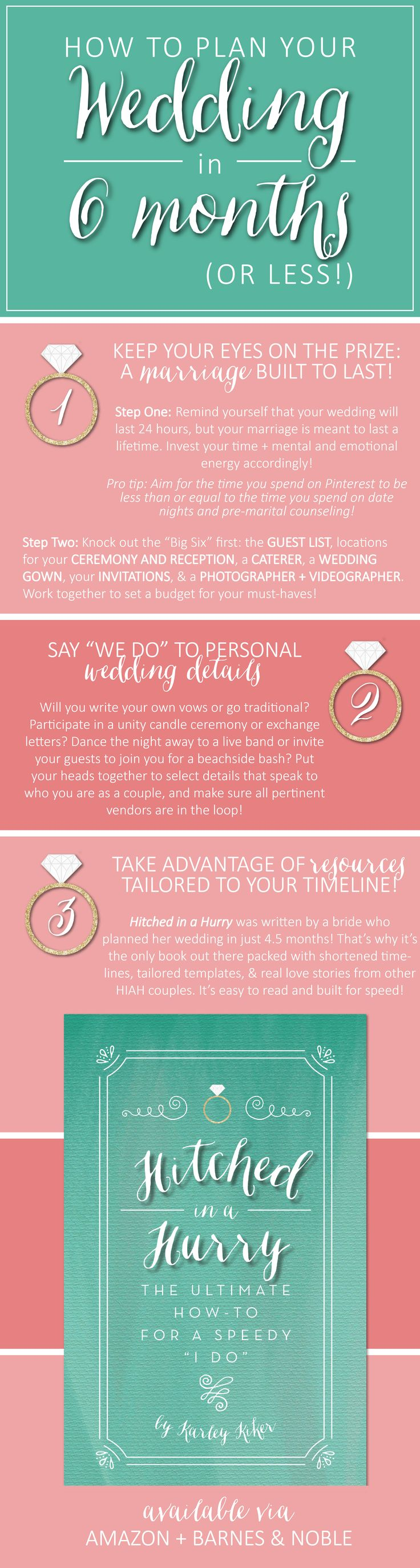 """Who says you have to be engaged for 12-18 months? You completely, totally, 100% CAN plan a wedding in 6 months or less! Say """"I do"""" to exchanging the title of fiance for wife sooner rather than later + learn how to keep your eyes on the prize throughout the wedding planning process: a marriage built to last!"""