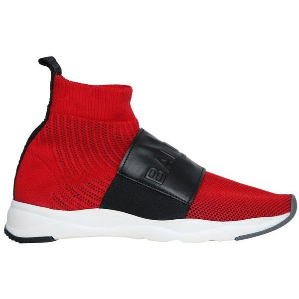 Balmain Cameron 00 high-top knit sneakers ($753) ❤ liked on Polyvore featuring shoes, sneakers, red, red hi top trainers, knit shoes, red trainers, red high top trainers and red high tops