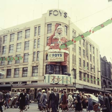 Foy and Gibsons department store, Bourke  and Swanston Streets, Melbourne. Christmas 1959