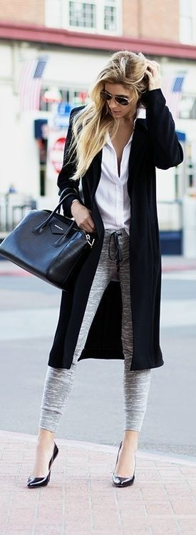 Super polished yet relaxing. Grey fitted sweats with heels and a black coat/ long cardi