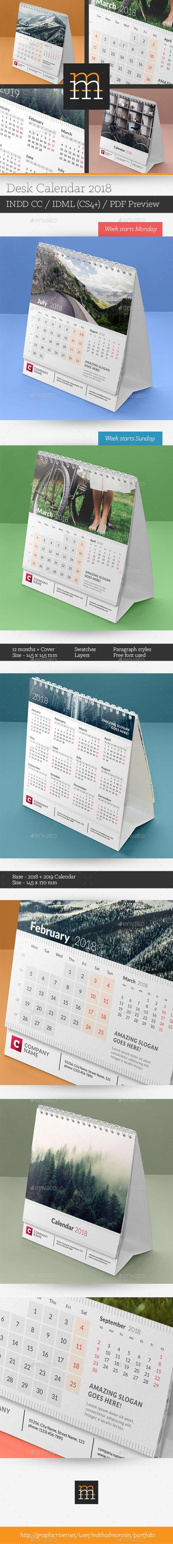 #corporate #Desk #Calendar #template #2018 - #creative #business Calendars Stationery #design. download; https://graphicriver.net/item/desk-calendar-2018/20347700?ref=yinkira