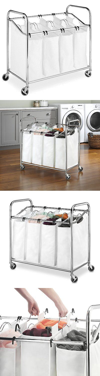 Hampers 43517: 4 Bag Bin Laundry Sorter Hamper Canvas Heavy Duty Rolling Cart Storage Clothes -> BUY IT NOW ONLY: $38.69 on eBay!