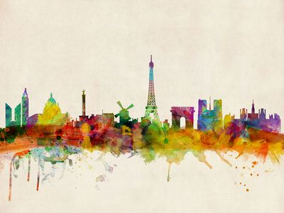 Paris Skyline Watercolor Stretched Canvas