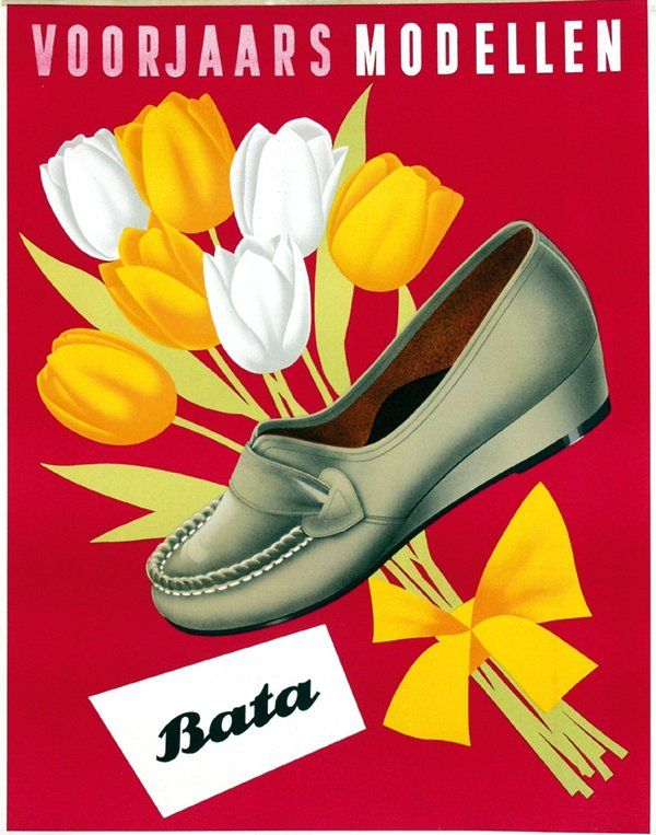"""Vintage poster by Anonymous - """"Bata voorjaarsmodellen"""" (Bata Spring Models), ca. 1950, Netherlands #batashoes #bata120years #advertising"""