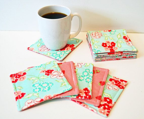 Quilted Coasters (set of 6) by JenUngerFineArts on Etsy