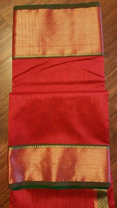 A perfect combo of chilly red and emerald green chanderi saree with exclusive zari work in pallu and borders