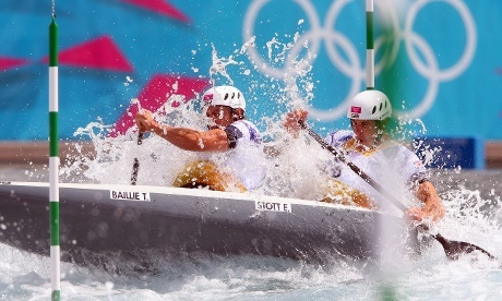 Gold medal winners Tim Baillie (L) of Great Britain and his team mate Etienne Stott compete in the Mens`s Canoe Double (C2) semi finale. Photograph: Alexander Hassenstein/Getty Images