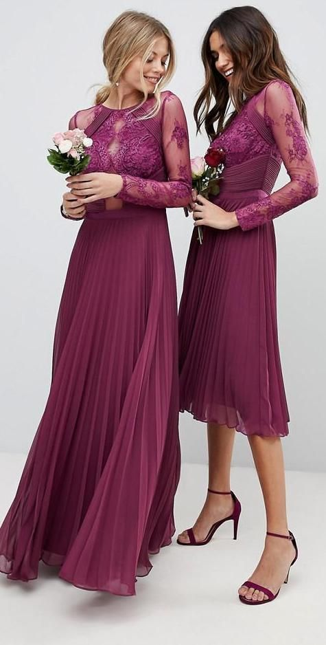 174bb388c083 Plum Long and short mismatched modest Bridesmaid Dresses