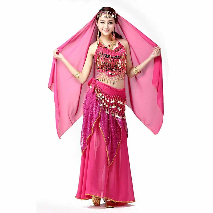 Egyptian Belly Dance Costume Bollywood Dancer Skirt Top Headpiece Coin Accessories Set Sexy Women Dancewear Stage Wear 4pcs Set #Affiliate