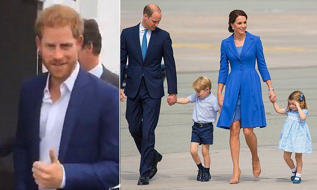 Prince Harry summed up his response to the news that Kate and William are expecting their third child next year with a wide grin and a thumbs up to the cameras in Manchester today.
