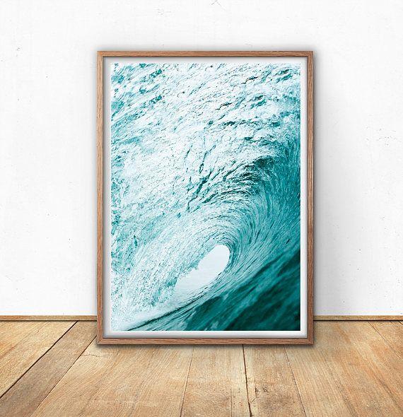 Golf Art Print  blauwe muur kunst digitale Print Oceaan