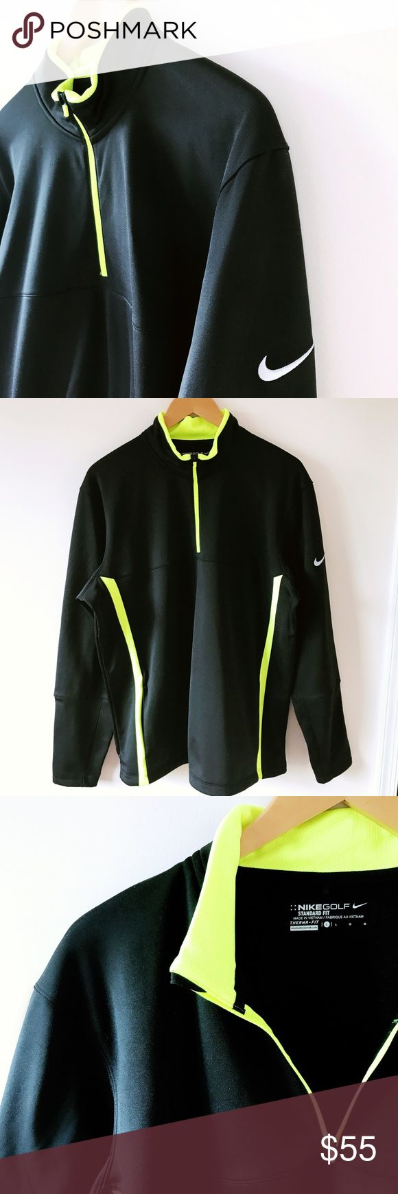 """Men's Nike golf jacket NWOT! (New without tag) Men's Nike therma fit golf jacket! Black with lime green pin stripe, zip front turtleneck collar, lined for warmth. Nike symbol on left arm and on zipper tag. Size 30"""" L, 26""""L arms. Offers welcome❤️ no trades thank you Nike Jackets & Coats Performance Jackets"""
