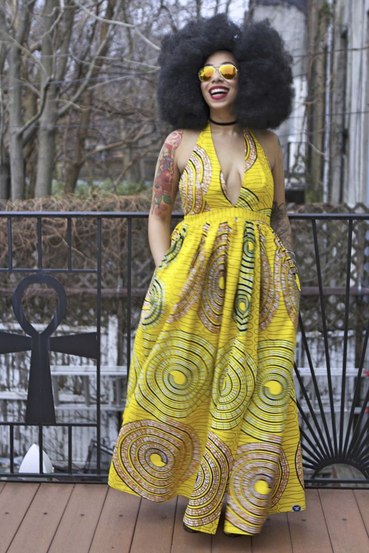 Lemon Swirl Maxi Halter Dress (tube top not included)  Ready To Ship from Brooklyn within 3-5 business days (express services available for an additional fee).  Choose your slit length at checkout: thigh high side slit low side slit (as shown on model)  Maxi Skirt Details: slit on the side 2 side pockets - rich orange and yellow print (colors may seem darker or lighter depending on differ your monitor) 100% cotton African wax fabric elastic in back of waistband zipper in back skirt length…