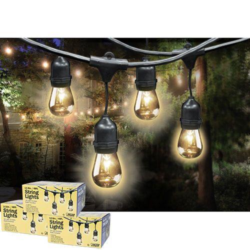 Feit Outdoor Weatherproof String Light Set, 48 ft, 24 Light Sockets, Includes 36 Bulbs Per Set ...