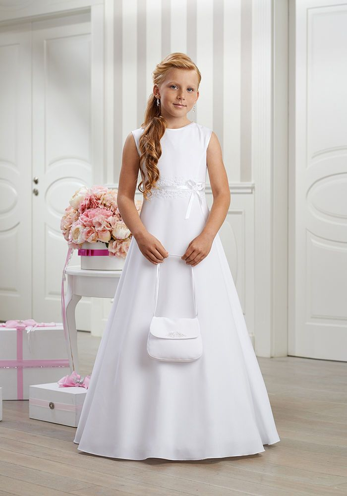 Kommunionkleid Kommunionskleid Kommunion Kleid Schleife Spitze schlicht edel neu