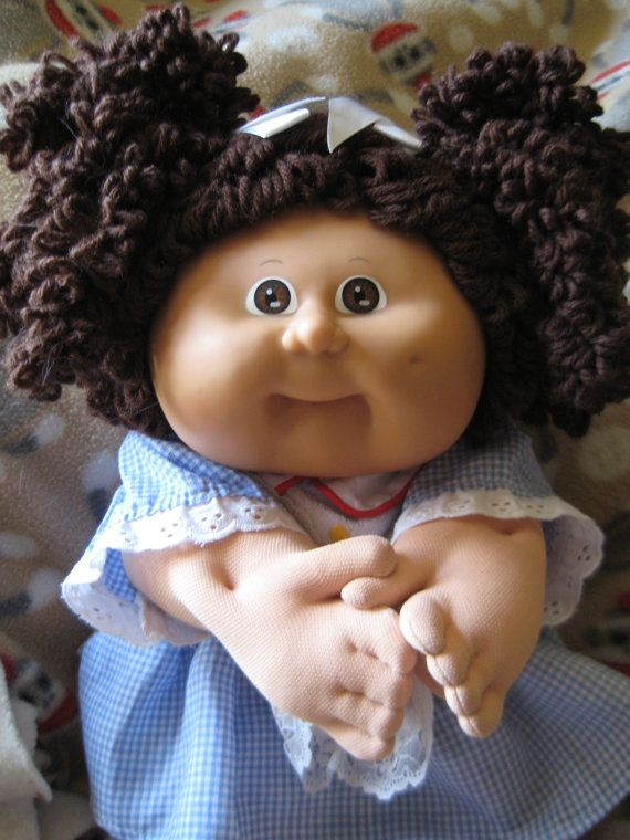 Cabbage Patch Popcorn Hair Girl Doll  Brown by InwithOldOutwithNew, $45.00