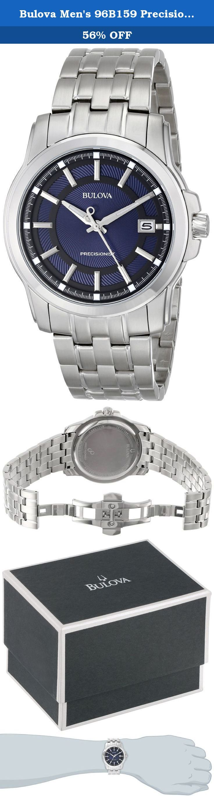 Bulova Men's 96B159 Precisionist Round Watch. From the Precisionist Collection. Featuring Bulova's proprietary Precisionist quartz accuracy, in stainless steel with multiple-layer swirl-pattern blue and black dial, silver continuously sweeping second hand, luminous hour and minute hands, faceted stick markers with luminous squares, calendar, double-press deployant closure and water resistance to 30 meters. Precisionist Technology At the heart of the watch is the Bulova Precisionist-class...