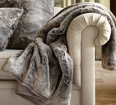 Faux Fur Throw - Gray Ombre: