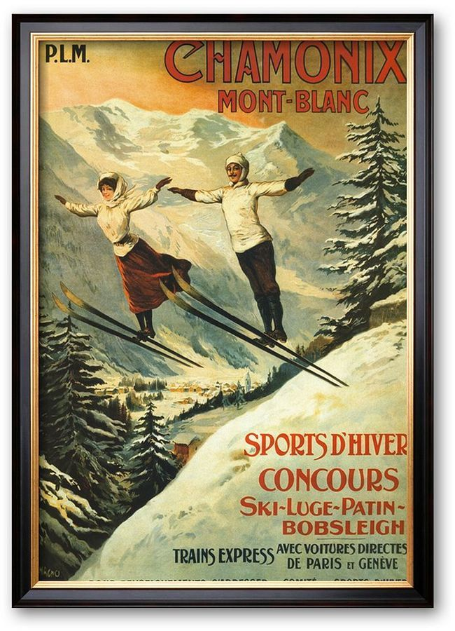 """""""Chamonix"""" Framed Art Print by Francisco Tamagno. Ta-da! This beautiful vintage poster advertises the grace and beauty of Chamonix in the South of France, the site of the first Winter Olympics in 1924. Consider placing on a red wall to make the accents pop. Stunning in any room. https://api.shopstyle.com/action/apiVisitRetailer?id=466937418&pid=uid8100-34415590-43"""