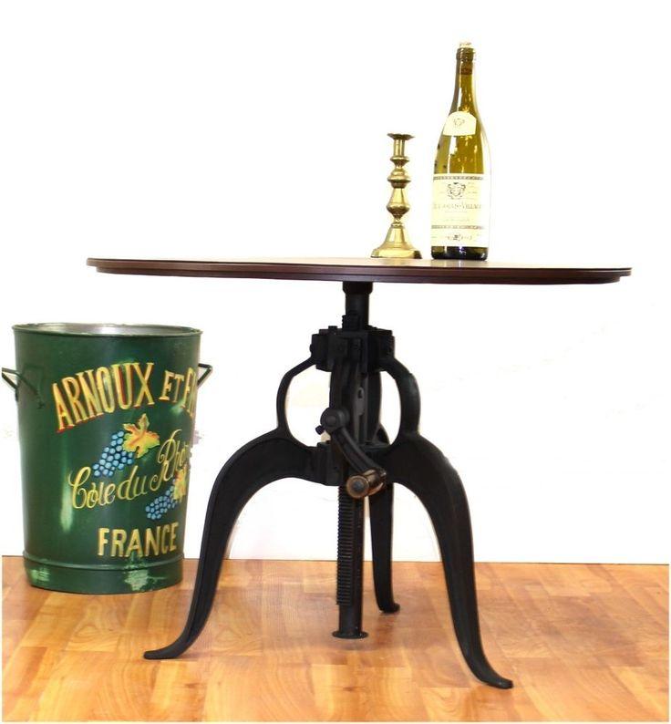 "4eachIron Crank vintage side TABLE OLD Sty factory industrial Bar 27.75"" Top #TheKingsBay #RusticPrimitive"