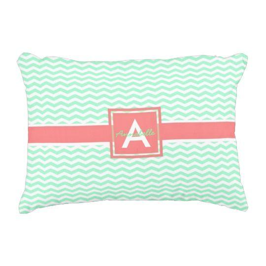 Mint coral chevron accent pillow #ad