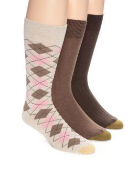 Gold Toe  Argyle Pattern Solid Knit and Solid Rib Crew Socks - 3 Pack