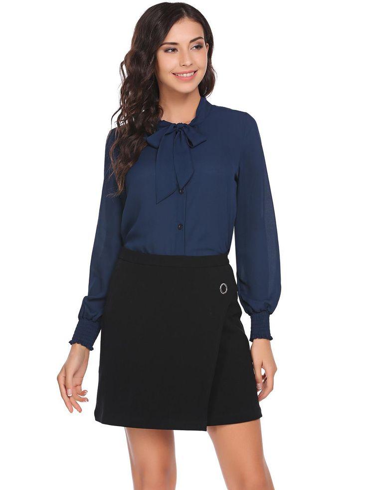 Navy blue Long Neck Buttoned Shirt