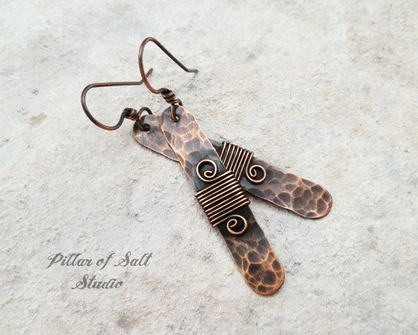 Stick earrings / wire wrapped earrings / antiqued copper earrings / wire wrapped jewelry handmade / earthy boho jewelry / hammered copper by PillarOfSaltStudio on Etsy https://www.etsy.com/listing/234272466/stick-earrings-wire-wrapped-earrings