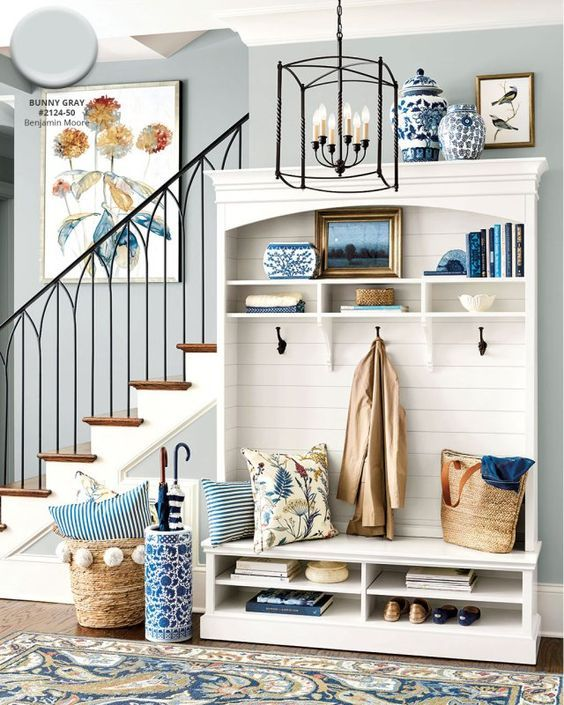 Benjamin Moore's Bunny Gray paint color in entryway from Ballard Designs catalog