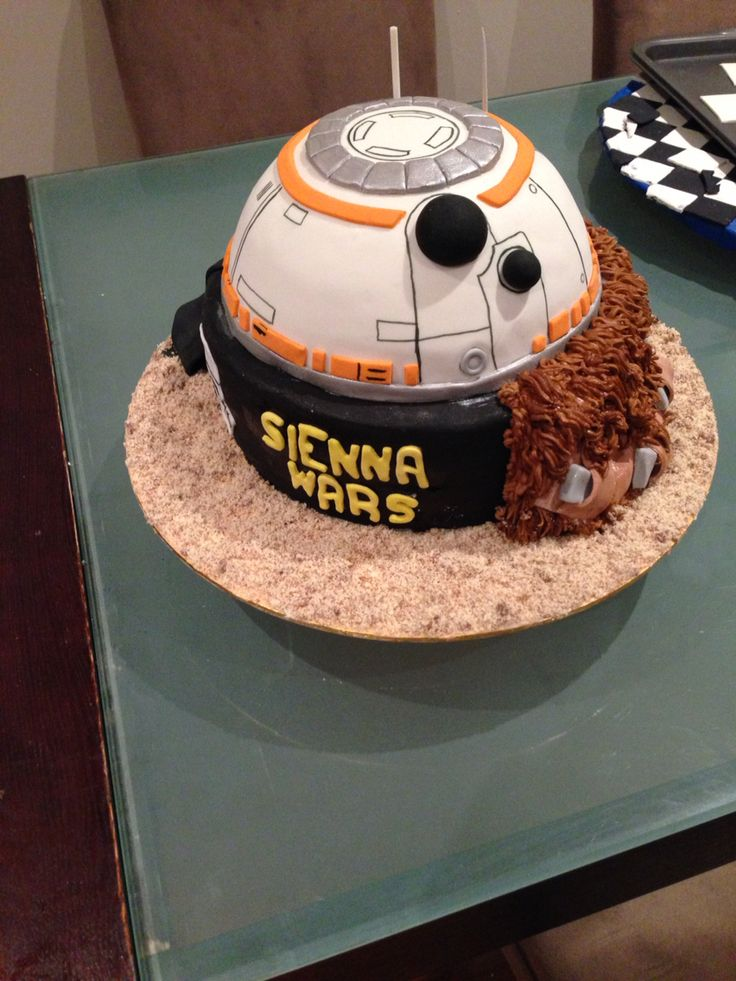 Star Wars theme cake with bb8, chewie and darth Vader