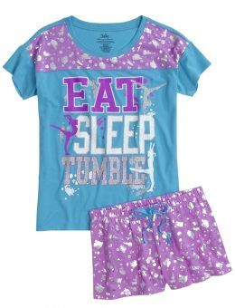 Super cute pare of pjs from justice and say GYMNAST on the back of the shorts