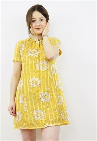 Vintage+60s+yellow+floral+striped+mini+dress