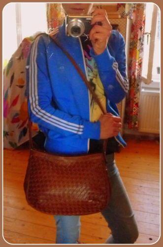 VINTAGE Tasche Leder Schultertasche Bag Boho Braun Messenger Handtasche Italy !! | eBay